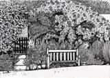Garden bench by Jackie Abey, Drawing, Pen on Paper